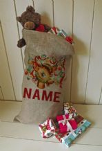 Personalized Decorated Reindeer Large Father Christmas Xmas Santa Sack / Stocking Bag Jute Hessian